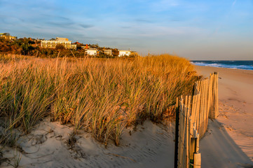 Sunset in a November day, at Hamptons Beach New York