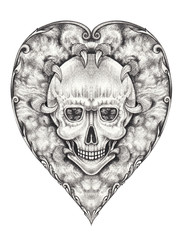 Art Surreal Heart mix Skull Tattoo. Hand pencil drawing on paper.