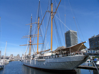 Tall masted sailing ship in the harbour, Ostend, West Flanders, Belgium