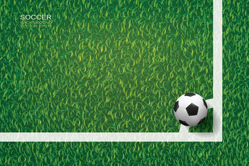 Soccer football ball on green grass of soccer field background in corner area. Vector.