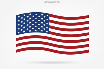 Abstract American flag on white background. Vector.