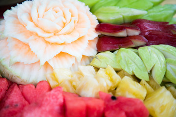 fruit carved shape beautiful flowers background