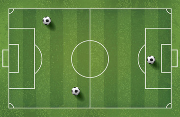 Soccer football ball on green grass of soccer field pattern and texture for background. Vector.
