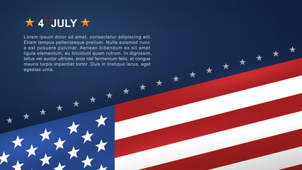 4th of July background for USA(United States of America) Independence Day with blue background and American flag. Vector.
