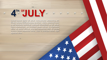 4th of July background for USA(United States of America) Independence Day with wood texture background and American flag. Vector.