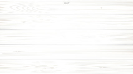 White wood pattern and texture for background. Vector.