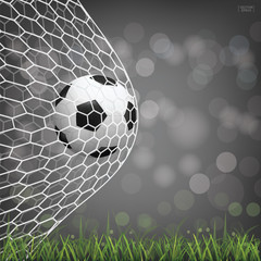 Soccer football ball in soccer goal with light blurred bokeh background. Vector.