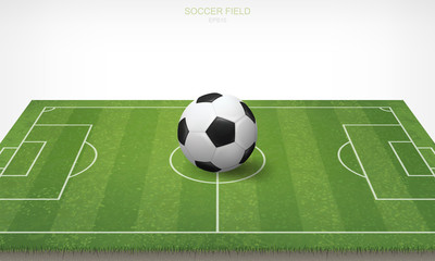Soccer football ball in soccer field area and white background. Green grass of soccer field with pattern and texture in perspective views. Vector.