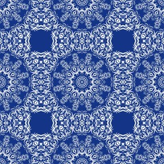 vector illustration. pattern with floral mandala, decorative border. design for print fabric, super bandana