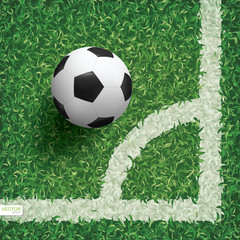 Soccer football ball in corner area of soccer field with green grass pattern texture background. Vector.