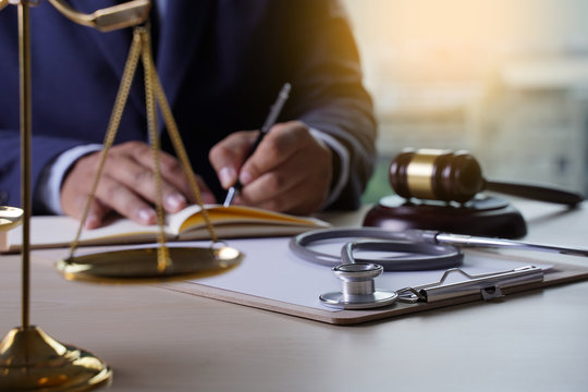 Law gavel stethoscope Health care business rules