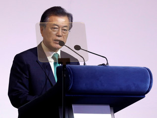 South Korea's President Moon Jae-in speaks at the ISEAS 42nd Singapore Lecture in Singapore