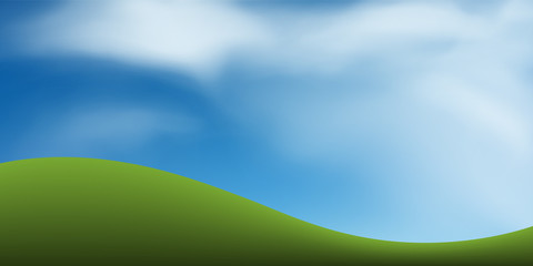 Green grass hill with blue sky. Abstract background park and outdoor for landscape idea. Use for natural article both on print and website. Vector.