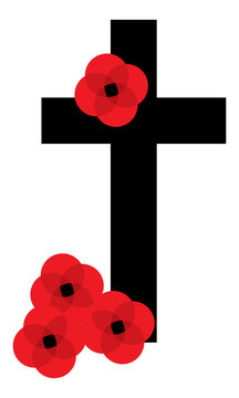 Remembrance Day Cross and Poppies