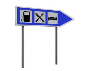 Autobahnschild mit Hinweisen für Tankstelle, Gasthaus und Hotel. 3d render