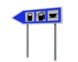 Autobahnschild mit Hinweisen für Tankstelle, Ladestation für Elektrofahrzeuge und cafe. 3d render
