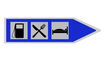 Autobahnschild mit Hinweisen für Tankstelle, Gasthaus und Hotel. 2d render