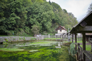 The cool calm water of the old castle in the forest area of the Slovakian hill side.