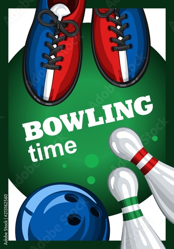 colorful poster for time bowling vector template poster with