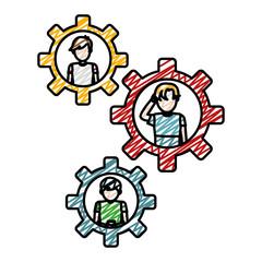 doodle children boys in the tool gears smartphone app