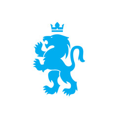 Lion and crown vector logo of blue lion roaring with raised paws in Swiss or Scandinavian or Bauhaus style design