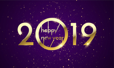 2019 Happy New Year of glitter gold. Vector golden glittering text and numbers with sparkle shine for holiday greeting card