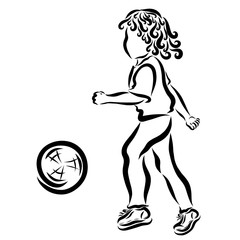 A child playing with a ball, a small sportsman