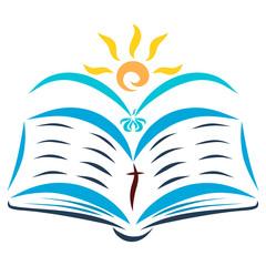 Open Bible, flying bird and shining sun