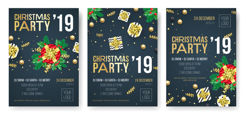 Christmas party invitation posters or cards for 2019 Happy New Year holiday celebration event. Vector new year gifts and golden stars of confetti glitter on black background