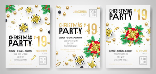 Christmas party invitation posters or flyers for 2019 New Year holiday celebration. Vector golden confetti glitter and present gifts on white background