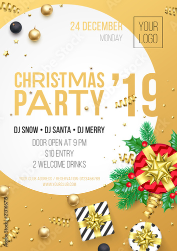 Christmas Party Invitation Poster Or Card For 2019 Happy New Year
