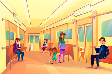 People in subway metro vector illustration. Pregnant black Afro American woman with daughter, teen boys listening music or watching video on tablet and girl reading book in train