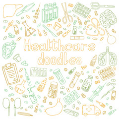 hand drawn medical doodles vector isolated illustration