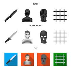 Knife, prisoner, mask on face, steel grille. Prison set collection icons in black, flat, monochrome style vector symbol stock illustration web.