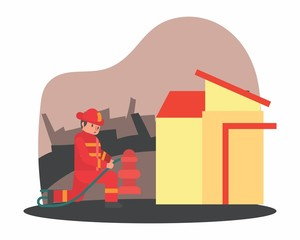 cute funny fireman firefighter fireguard fire brigade fire company extinguisher profession cartoon character
