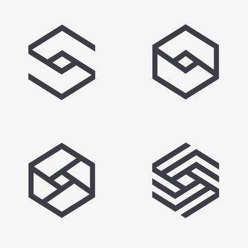 Set of vector logo design template hexagon design. Cube sign
