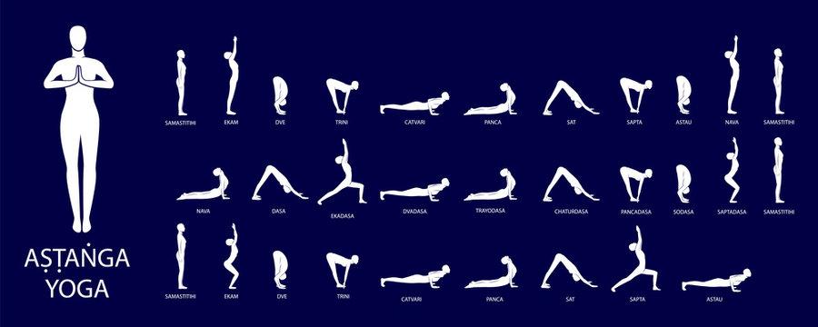 Yoga vector set. Figures yoga poses. Ashtanga Yoga