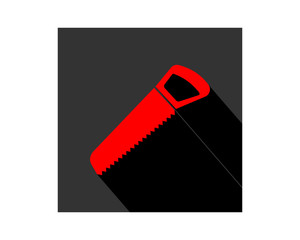 red saw construction repair fix engineering tool equipment image vector icon logo
