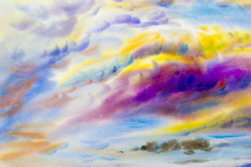 painting  colorful of beauty in nature with cloud sky