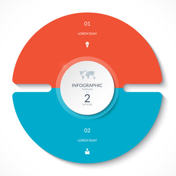 Infographic circle chart. Vector cycle diagram with 2 options. Can be used for graph, presentation, report, step options, web design.