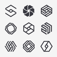 Set of vector logo design template. Black monogram. Hexagon icons