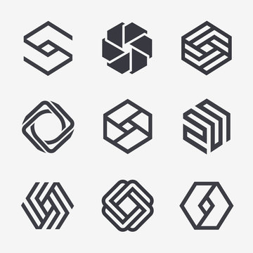 Set of vector logo design template. Black monogram. Hexagon icons