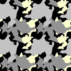Military camouflage seamless pattern in black, yellow and gray colors