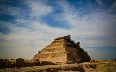 Exterior view to step pyramid of Zoser , Saqqara, Egypt