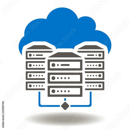 Database Networking Icon Vector  Server Rack Cloud