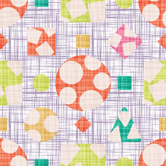 Design fabric with geometric shapes vector illustration. Seamless pattern background with rhombus, square, triangle and circle.