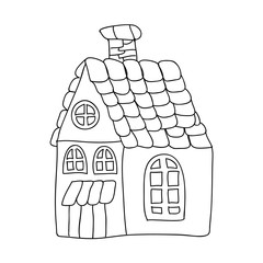 Funny fairy tale house children  coloring page isolated on white
