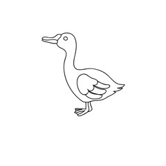 Funny goose children  coloring page isolated on white