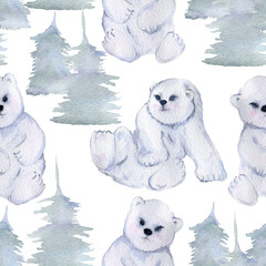 Seamless pattern with cute little polar bears and fir trees. Isolated on white background. Watercolor illustration
