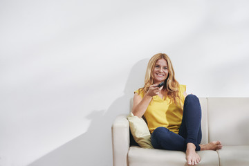 Woman watching tv series